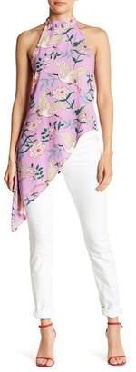 Romeo & Juliet Couture Floral Print Mock Neck Halter Top