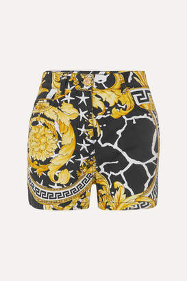 Versace Printed Denim Shorts - Yellow