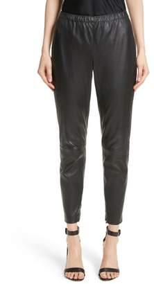 St. John Stretch Nappa Leather Crop Pants