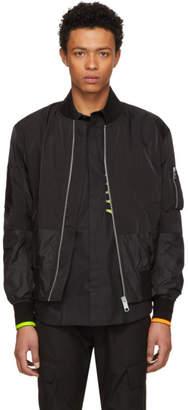 Versus Black Neon Patch Bomber Jacket