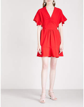 Miu Miu Flared-sleeve crepe mini dress