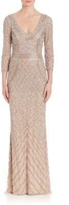 Theia Beaded Three-Quarter Sleeve Gown
