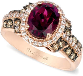 LeVian Le Vian® Raspberry Rhodolite® Garnet, Chocolate and White Diamond Oval Ring (2-3/4 ct. t.w.) in 14k Strawberry Rose Gold