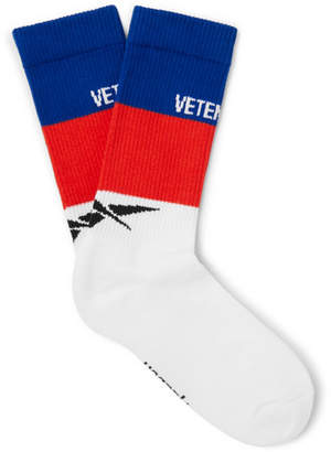 Vetements Reebok Striped Ribbed Stretch Cotton-Blend Socks - Men - White