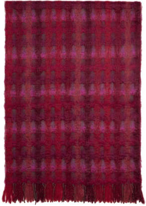 Comme des Garcons Red and Pink Mohair Check Scarf
