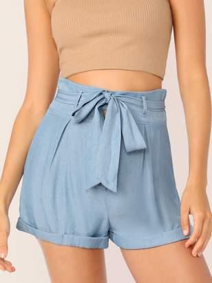 Shein Solid High Waist Cuffed Belted Shorts