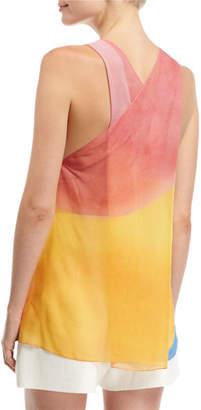 Rosetta Getty Watercolor Silk Twist-Back Tank