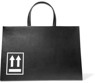 Off-White Printed Leather Tote - Black