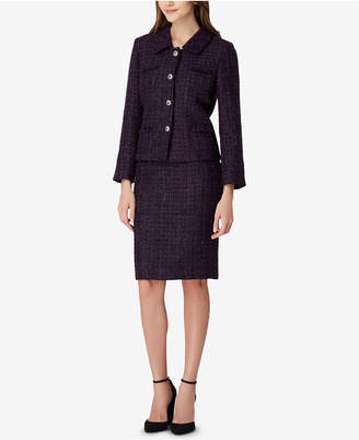Tahari ASL Four-Button Metallic Boucle Skirt Suit