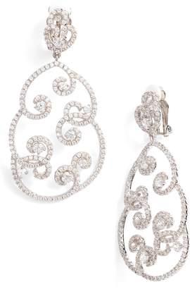 Nina Swirl Pave Clip-On Drop Earrings