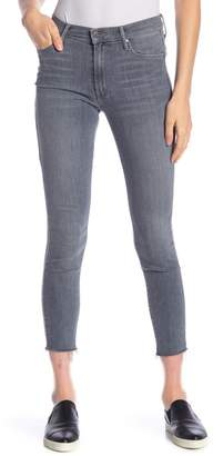 Mother The Looker High Waist Frayed Hem Skinny Ankle Jeans