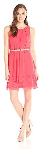 Jessica Simpson Women's Chiffon Belted Dress with Laser Cut Hem