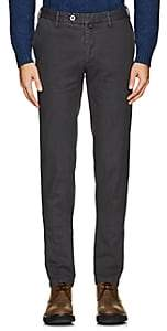 Isaia Men's Stretch-Cotton Slim Trousers-Dark Gray