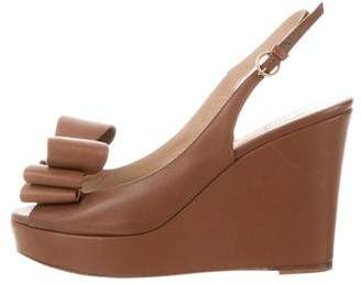 Valentino Leather Peep-Toe Wedges