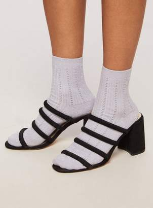 Miss Selfridge Lilac sparkle ribbed socks
