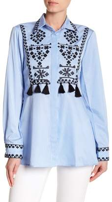 Haute Rogue Tassel Trim Embroidered Button Down Shirt