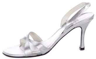 Stuart Weitzman Leather Mid-Heel Sandals