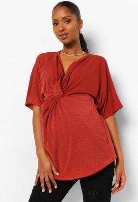 boohoo Maternity Twist Front Kimono Sleeve Blouse