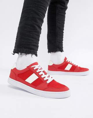 Asos DESIGN vegan friendly retro sneakers in red faux suede and mesh
