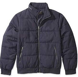 The Plus Project Men's Padded Coat with Invisible Hood Navy
