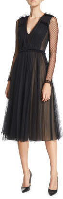 Jason Wu Point D'esprit Lace Long-Sleeve Ruched Cocktail Dress