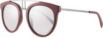 Balmain Round Mirrored Acetate & Metal Double-Bridge Sunglasses