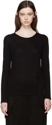Yohji Yamamoto Black Button Placket T-Shirt $690 thestylecure.com
