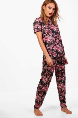 boohoo Bethany Dark Floral PJ Set
