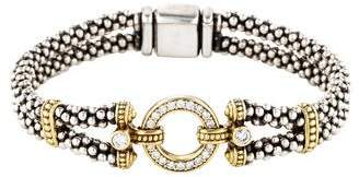 Lagos Two-Tone Diamond Enso Caviar Bracelet
