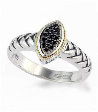 Effy Sterling Silver & 18K Gold Black Diamond Pave Ring - 0.23 ctw - Size 7