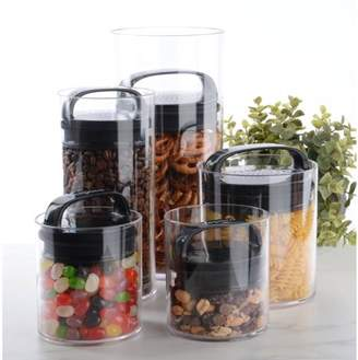 Prepara Green Grocer Fresh Saver Vacuum Seal Food Storage Containers, Black (Set of Five)
