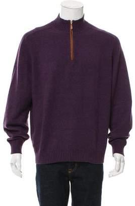 Brunello Cucinelli Leather-Trimmed Cashmere Sweater