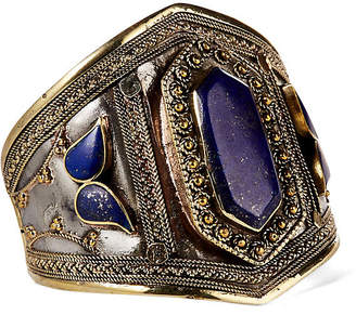 Gold & Silver Filigree with Lapis Cuff - Iris Apfel Jewelry