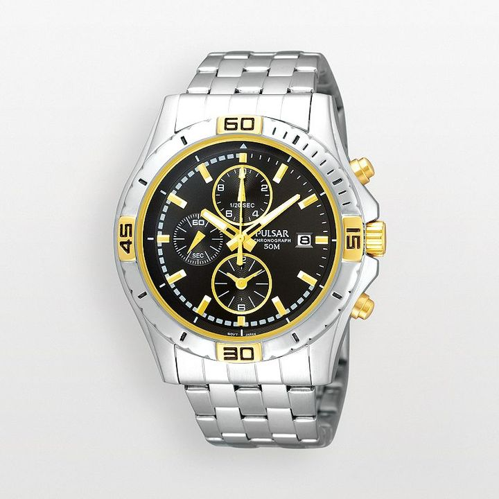 Pulsar stainless steel two tone chronograph watch - pf8398 - men