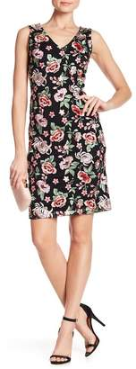 Donna Ricco V-Neck Floral Embroidered Dress