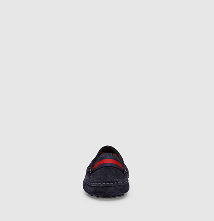 Gucci Kid's Suede Driver With Web