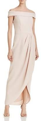 Aqua Off-the-Shoulder Draped Crepe Gown - 100% Exclusive