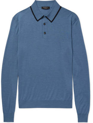 Ermenegildo Zegna Contrast-Tipped Wool and Silk-Blend Polo Shirt - Blue