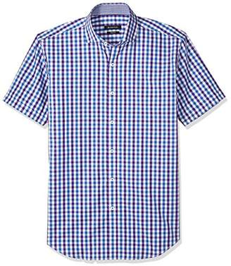Bugatchi Men's Gingham Jacquard Slim Fit Short Sleeve Shirt