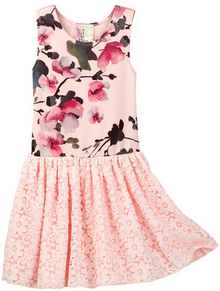Twirls & Twigs Pink Floral Top Lace Bottom Tutu Dress (Toddler & Little Girls) $48 thestylecure.com