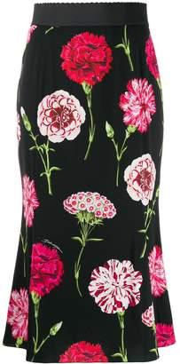 Dolce & Gabbana carnation print charmeuse skirt