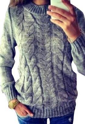 90a7a4fafba7 Sweatwater Womens Casual Crewneck Knit Pure Color Pullover Cable Jumper  Sweaters