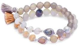 Chan Luu Gray Onyx, Agate and Sterling Silver Bracelet