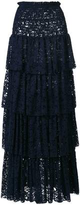 Pinko tiered lace maxi skirt