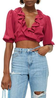 Topshop Ruffle Crop Top