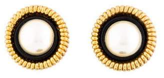 Chanel Faux Pearl & Resin Clip-On earrings