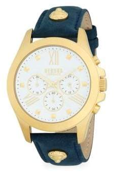 Versace Stainless Steel & Leather Strap Chronograph Watch