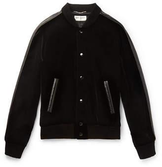 Saint Laurent Leather-trimmed Appliqued Velvet Bomber Jacket - Black