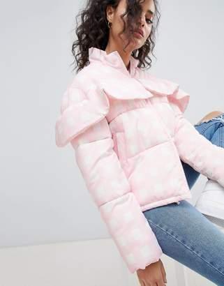 Asos Design Gingham Padded Jacket