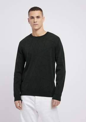 Emporio Armani Pure Cotton Sweater In Drop-Stitch Knit With Geometric Motif